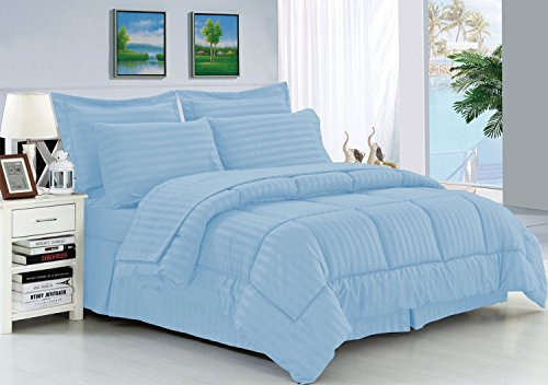 Elegant Comfort Wrinkle Resistant - Silky Soft Dobby Stripe Bed-in-a-Bag 8-Piece Comforter Set -HypoAllergenic - King Light Blue