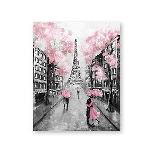 NIEMENGZHEN Druck auf Leinwand Paris City Gemälde Eiffelturm Paar mit Regenschirm auf Straßenwand Kunst Bild Poster Leinwand Gemälde Wohnkultur 60 x 90 cm (23,6