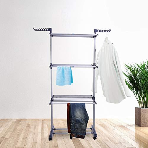 Cocoarm Wasrek inklapbaar torenwasrek droogrek wasdroger met wieltjes 3 planken kledingrek droogrekken van stalen buis en kunststof, 76 x 50 x 170 cm
