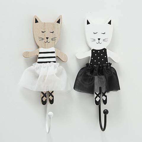 BHC Wandhaken Kitty Ballerina set van 2 zwart wit kat kinderen garderobe kledinghaken meisjes