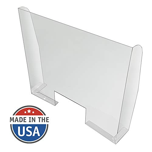 Counter Sneeze Guard, Clear PETG, Mounts to Countertops and Desks, Adhesive Tape, 33' x 30' with a 15' x 6' Cutout