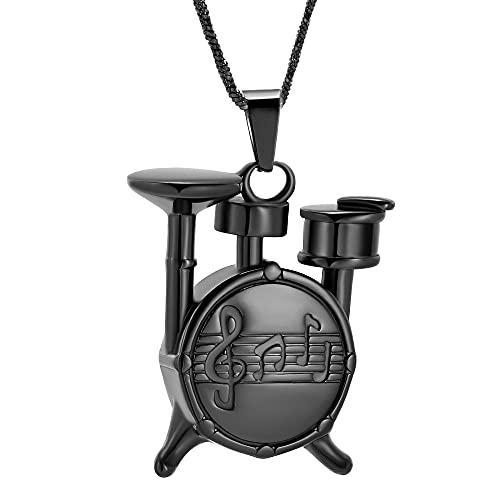 KBFDWEC Tambor Música Charm Urna Collar Joyería de cremación para Cenizas Recuerdo Joyería Conmemorativa