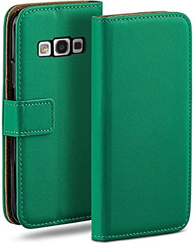moex Klapphülle kompatibel mit Samsung Galaxy S3 / S3 Neo Hülle klappbar, Handyhülle mit Kartenfach, 360 Grad Flip Hülle, Vegan Leder Handytasche, Dunkelgrün