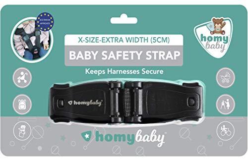 HOMYBABY Seguridad Bebes | Hebilla para Cinturon de Seguridad | Evita que el Niño Saque los Brazos del Arnés | Protector Arnes Bebe para Silla de Coche | Cierre Seguridad Bebe (XL)