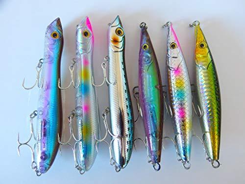 momolures - Tapón para lápices, Superficie de Agua Superior, 6 Unidades, para lubina, Lucio, salmón, Pesca, señuelos de Pesca, Activo 01
