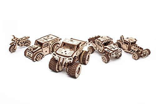 EWA Eco-Wood-Art-Vehicles Set Vehículos mecánico 3D de Madera-Rompecabezas para Adultos y Adolescentes-Montaje sin pegamento-364 Piezas, Color Naturaleza