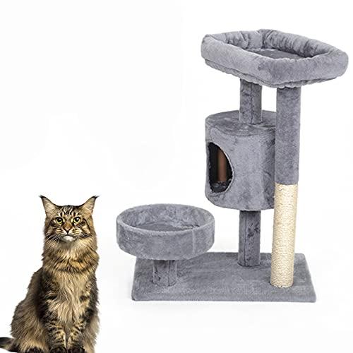 Apartamento para Gatos De Varios Pisos, Casino Cat Tree, 77 Cm De Alto con Un Nido, Un Hábitat para Jugar Y Descansar, Adecuado para Gatos,Gris