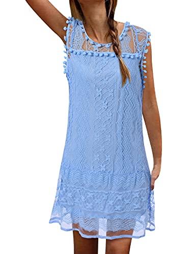 ZANZEA Sommerkleid Damen Elegant Spitzen Minikleid Kurz Ärmellos Lace Strandkleider Brautkleid Party Club Hellblau-425572 EU 38