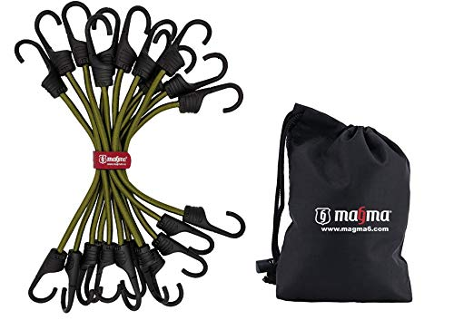 MAGMA Spanngummi 12er Set | Robuster Schnellspanner für Fahrrad, Auto, LKW, Anhänger & Garten | Expander zur Sicherung von Tarps, Ladung und Planen | Für Camping, Militär, Outdoor (30cm, Grün)