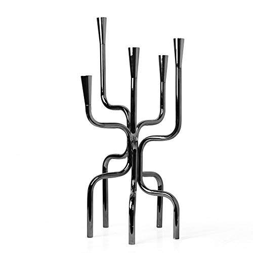 KDBEB Metal Candle Holders Tall 5-arms Ornate Candle Holder Black Height 23.4in/59.5cm Table Candle Holder for Living Room Wedding Home Accessories Table Centerpiece Centerpieces