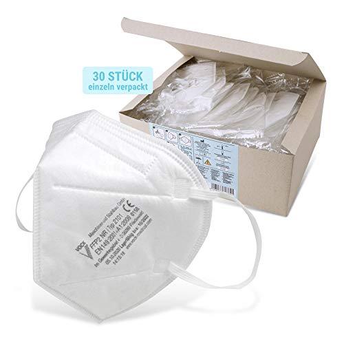 Fackelmann FFP2 Atemschutzmaske, Mundmaske mit Ohrbügel und Nasenclip, FFP2 Maske für Aerosole, Universalmaske als Partikelschutz, hochwertige FFP2 Schutzmaske (Farbe: Weiß), Menge: 1 x 30 Stück