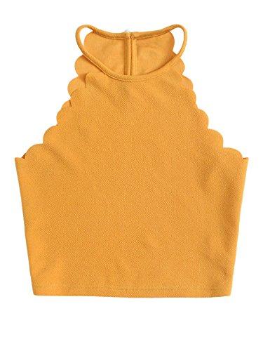 DIDK Damen Crop Top Camisole Tanktop Spagehtti Träger Cropshirt Sommer Oberteil Bauchfrei T-Shirts mit Muschel-Kante Gelb S