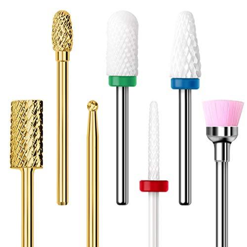 Nagelfräser Aufsatz Bit Set Elektrische Nagelfeile für Gelnägel Acrylnägel Fräser Aufsätze für Nägel für Maniküre Pediküre Set 7pcs Keramik/Hartmetall