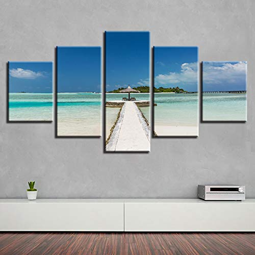 DHSCA Decoration Wall Art 5 Canvas Beach Path Gazebo Blue Sky Sea View 150X80Cm Framed Poster Prints 5 Pieces Canvas Painting Artworks for Children's Room Room Modern Wall Art Hang Picture