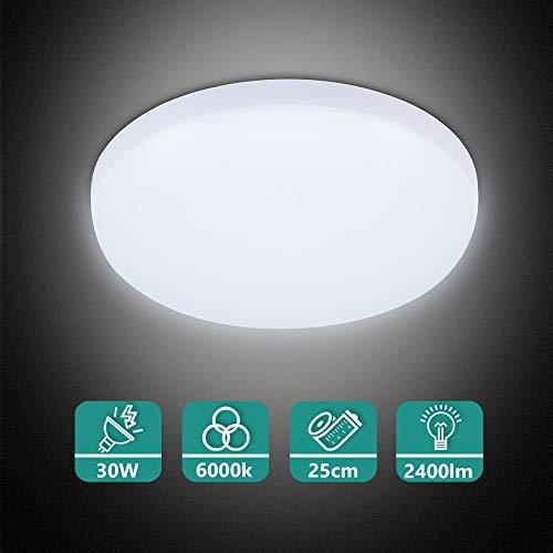 Combuh LED Lámpara de Techo 30W Impermeable IP56 Blanco Frío 6000K 2400Lm Fácil de Instalar Plafon LED para Cocina, Baño, Oficina, Porche, Garaje Ø25Cm