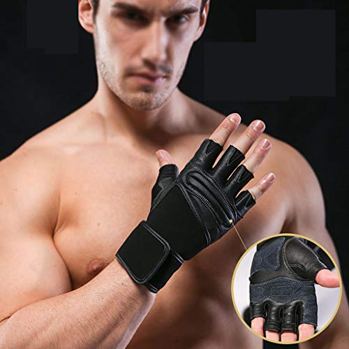 asdf Fitness Gloves Men and Women Sports Professional Equipment Training Pull Horizontal Bar Iron Dumbbell Exercise Half Finger Non-Slip Wear-Resistant