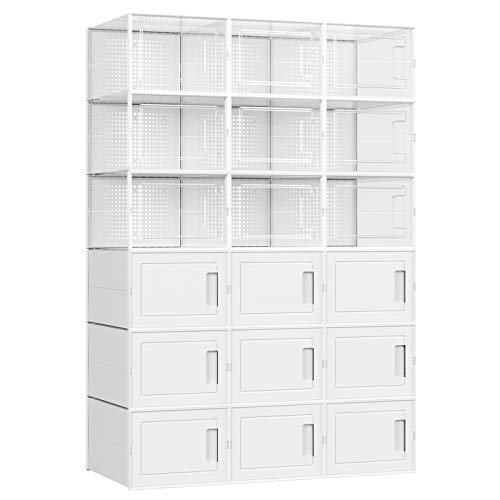 SONGMICS Schuhboxen,18er Set,Kunststoffboxen, stapelbar,fürSneaker,fürSchuhe bis Größe 44, 9transparenteBoxenund 9 weißeBoxenLSP009W01