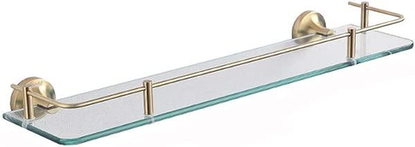 XSJZ Wall Mounted Glass Shelf Gold Single Layer Tempered Glass Shelf Rack For Bathroom Toilet Cosmetic Tool Holder Bathroom Glass Shelf