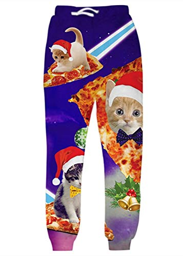 Belovecol Mens Womens Ugly Christmas Joggers Jingle Bell Laser Pizza Cat Funny Cartoon Graphic Pants Sweatpants with Two Side Pocket Drawstring for Eve Party Casual Jogging Sports Outdoor Street M