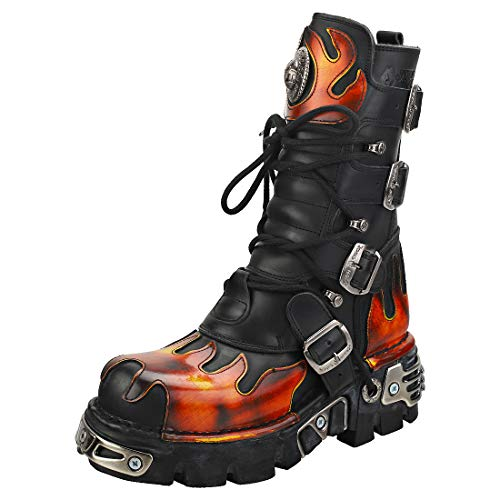 New Rock Flames and Reactor Unisex Platform Boots in Black Red - 8.5 US M - 10 US W