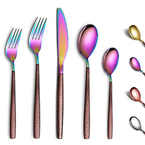 Berglander Silverware Set 20 Pieces With Moon Surface Handle And Shiny Rainbow Mouth Titanium Plating, Stainless Steel Modern Rainbow Flatware Set Utensils Set Colorful Cutlery Set Service For 4