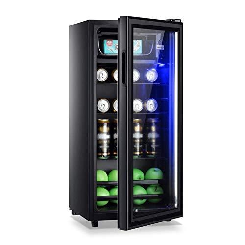 Boissons Réfrigérateur avec porte en verre et Led Lumière, boissons Cooler et réfrigérateur, mini-réfrigérateur avec porte en verre, boisson Petit Cooler - Double couche en verre trempé Porte Cave à v