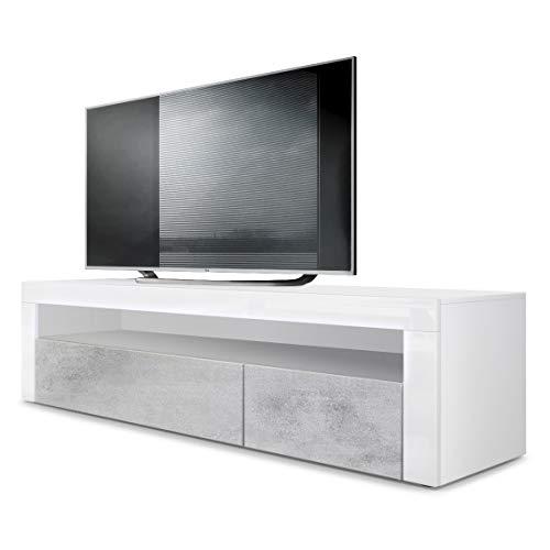 Vladon TV Board Lowboard Valencia, Korpus in Weiß matt/Front in Beton Oxid Optik mit Rahmen in Weiß Hochglanz