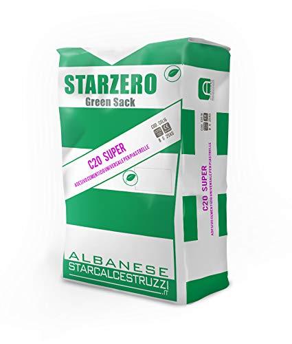 STAR.ZERO C20 SUPER - COLLA PER PIASTRELLE CEMENTIZIA NATURALE, universale, formato medio-grande, per interno ed esterno, resistente al gelo, di classe C2TE (5 Kg). Con sacco multiuso per macerie