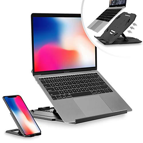 Desire2 Laptopständer Computer Ständer 2 in 1 Stand Klappbar 360 Grad Drehbar Höhenverstellbar Kompatibel mit MacBooks Abnehmbare Handyhalterung - Schwarz