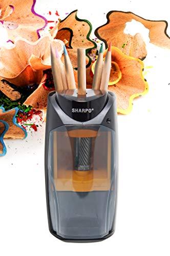 Sharpo 711 Elektrospitzer - elektrischer Anspitzer für Dicke und dünne Buntstifte, Farbstifte und Bleistifte - Spitzmaschine für Kinder, Kindergärten, Büro und für zu Hause