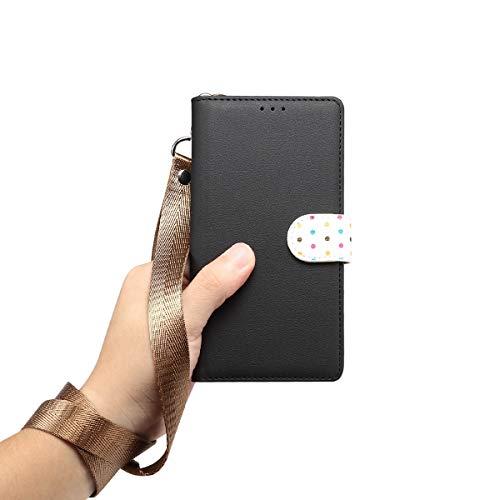 Yoodi Capa flip de couro para Huawei Nova 3i com capa de cordão para Huawei Nova 3i - Preta