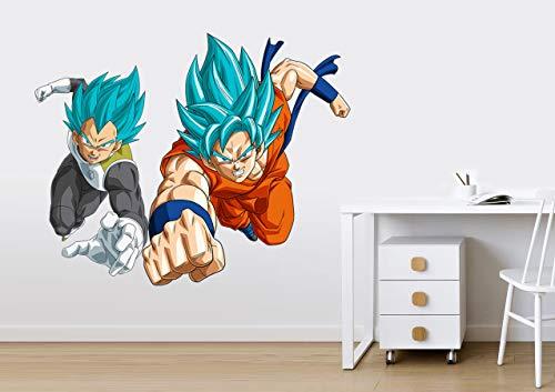 Vinilo Decorativo Infantil Goku y Vegeta Dragon Ball Super – Autoadhesivo de fácil colocación – Habitación Infantil – Varias Medidas (60, 48)