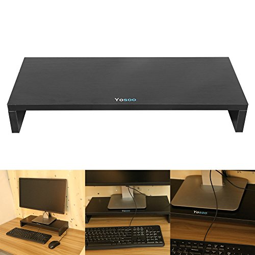 Wooden Monitor Stand Riser LED LCD Computer Monitor Riser Desktop Organizer Display Shelf for Computer Monitor Laptop TV Printer Black