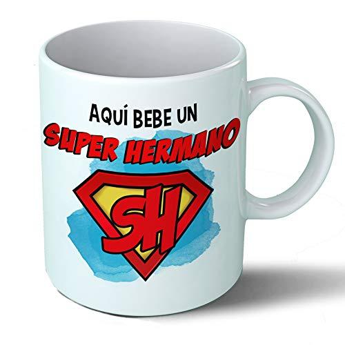 Planetacase Taza Hermano - Aquí Bebe Un Super Hermano - Regalo Original Hermanos Superhermano Familia Taza Desayuno Café Ceramica 330 mL