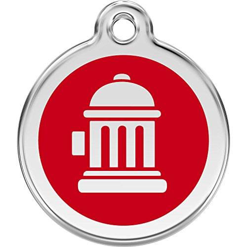 Red Dingo Personalized Fire Hydrant Pet ID Dog Tag (Medium Red)