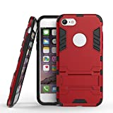 Adamarkeer Coque pour iPhone 6 Case, iPhone 6S Coque Hybride Armour TPU+PC Silicone Dual Layer Antichoc Anti-Rayure Ultra Mince Rigide Case Étui Housse avec Support (Rouge)