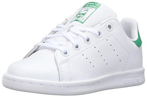 adidas Originals Boy's Stan Smith Sneaker, White/White/Green, 5.5 Little Kid