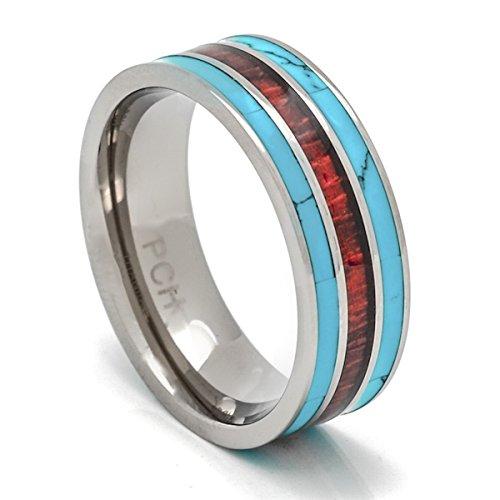 PCH Jewelers - Anillo de madera de koa, titanio y turquesa de 8 mm, anillo de ajuste cómodo con 3 líneas