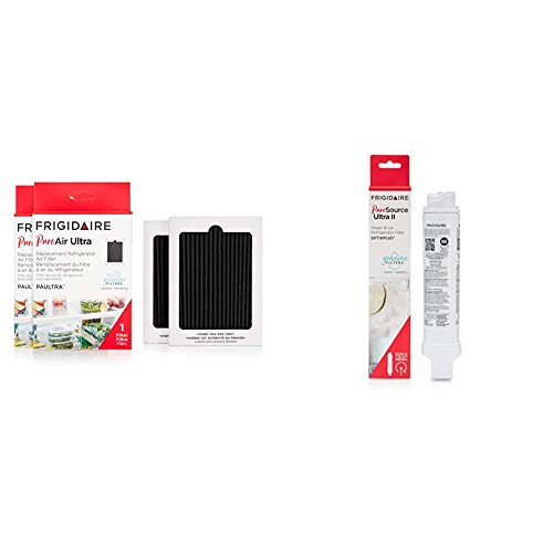 """Frigidaire PAULTRA2PK PAULTRA Pure Air Ultra 2 Pack Air Filter, 6.5"""" x 4.75"""", 2 Count & EPTWFU01 Refrigerator Water Filter, 1 Count, White"""