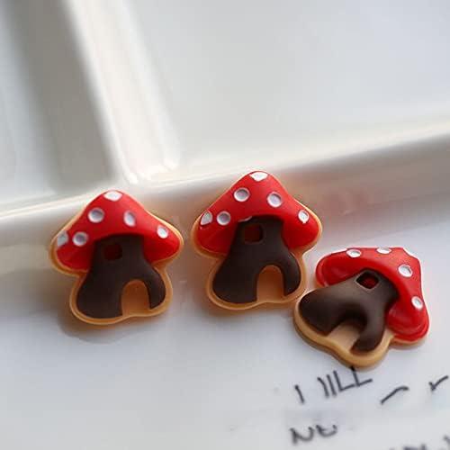 10Pcs Red Hat Mushroom Flatback Embelli Cabochon Resin Craft half depot DIY