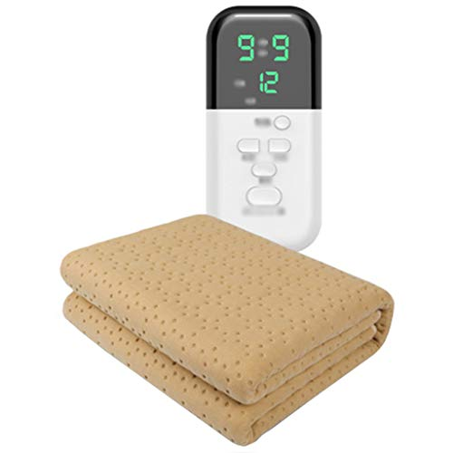 OCYE Electric blanket, household electric blanket, 9 heating settings and 12-hour automatic timer, waterproof (khaki)