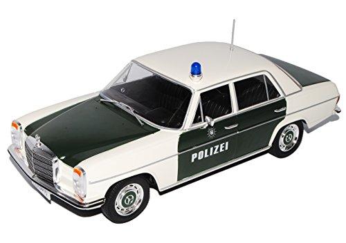 Mercedes 220/8 (W115), dunkelgrün/weiss, Polizei 1973 Türen und Hauben geschlossen Maßstab 1:18 - Metall / Kunststoff - Fertigmodell MCG