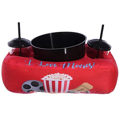 Almofada Porta Pipoca + Balde com 2 Copos e Canudo I Love Movies Vermelha