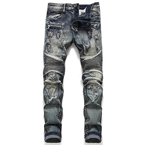 ShFhhwrl Vaqueros de Moda clásica Denim Designer For Men'SBike Moto Jeans Stretch StraightOversize Spring Sutumn Winter Hip