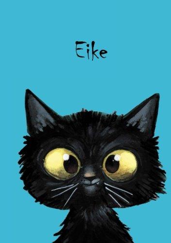 Eike: Personalisiertes Notizbuch, DIN A5, 80 blanko Seiten mit kleiner Katze auf jeder rechten unteren Seite. Durch Vornamen auf dem Cover, eine ... Coverfinish. Über 2500 Namen bereits verf