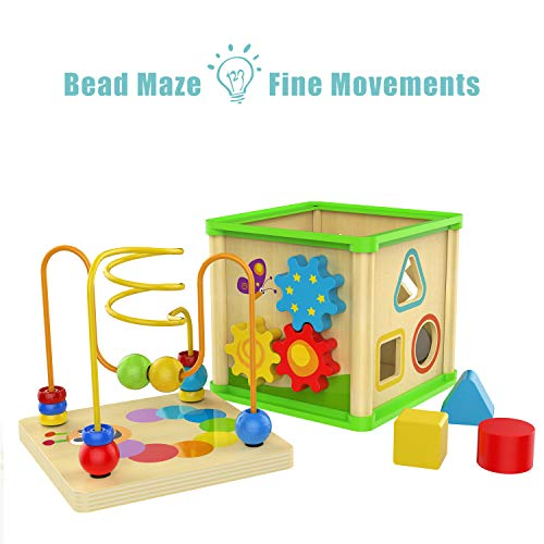 TOP BRIGHT Wooden Activity Cube Toys for 1 2 Year Old Boy Gril, One Year Old First Birthday Gift Ideas, Baby Toy 12 Months with Bead Maze Shape Sorter