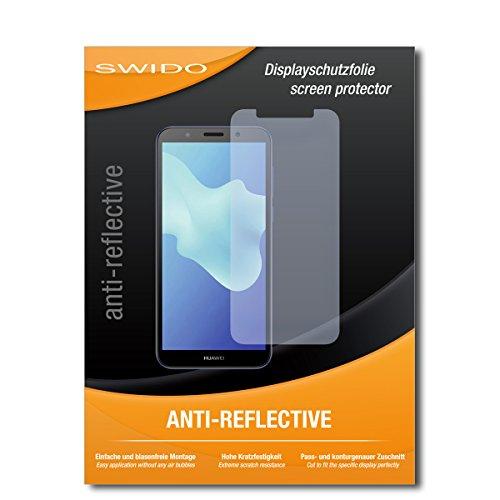 SWIDO Schutzfolie für Huawei Y5 (2018) [2 Stück] Anti-Reflex MATT Entspiegelnd, Hoher Festigkeitgrad, Schutz vor Kratzer/Bildschirmschutz, Bildschirmschutzfolie, Panzerglas-Folie