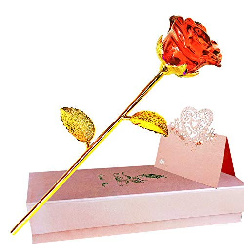 Red Rose Gift for Her, Crystal Rose, Galaxy Rose Forever Artificial Flowers, K9 Glass Rose Quartz, 24K Golden Rose for Girlfriend Wife on Valentine's Day,Wedding, Anniversary, Thanksgiving, Chrismas.