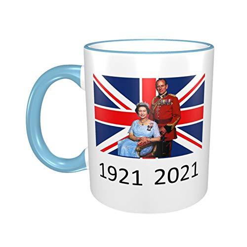 Queen Elizabeth II & Prinz Philip auf der britischen Flagge, Monarch-Tasse, 1921–2021, Himmelblau