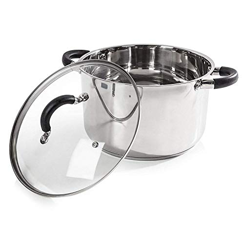 Picture of Tower T80837, Casserole Dish, 24cm-Stainless Steel, Silver, 26 x 28 x 17 cm
